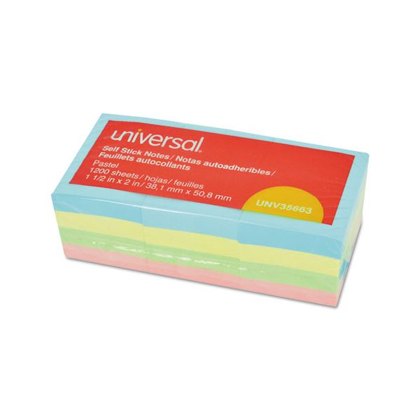 """Universal Self-Stick Note Pads, 1 3/8"""" x 1 7/8"""", Assorted Pastel Colors, 100-Sheet, 12/PK"""