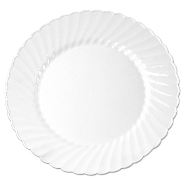 "WNA Classicware Plastic Plates, 6"" Dia. White, 12/Bag, 15 Bag/Carton"