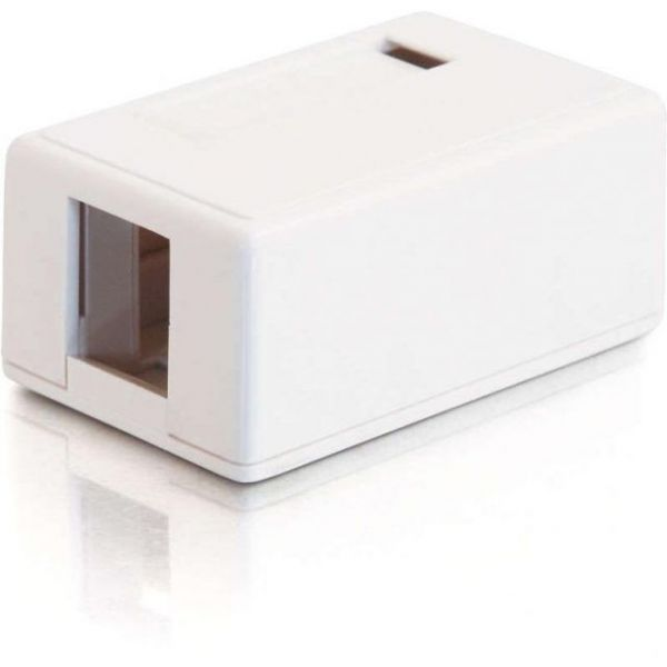 C2G 1-Port Keystone Jack Surface Mount Box - White
