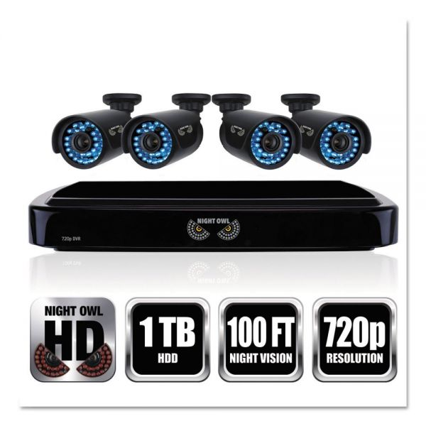 Night Owl Four-Channel Smart HD Video Security System with Four 720p HD Cameras