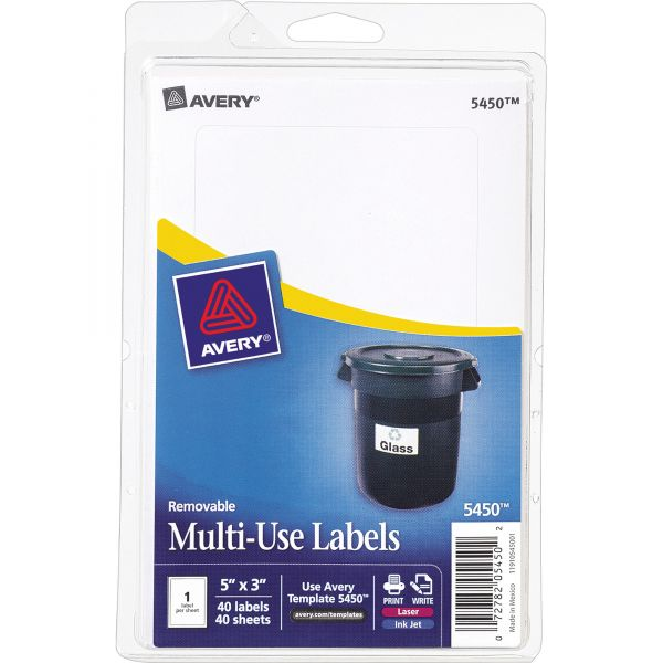Avery Removable Multi-Use Labels, 5 x 3, White, 40/Pack
