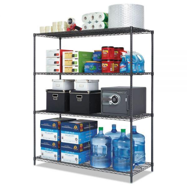 Alera All-Purpose Wire Shelving Starter Kit, 4-Shelf, 60 x 24 x 72, Black Anthracite+