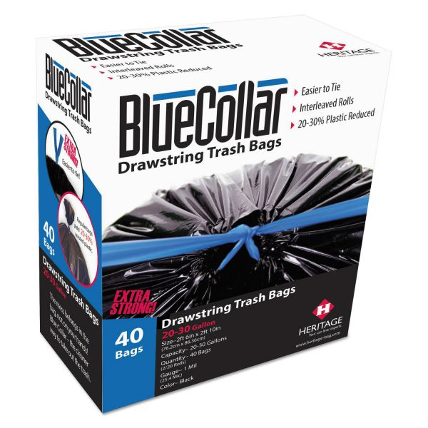 BlueCollar Drawstring 20-30 Gallon Trash Bags
