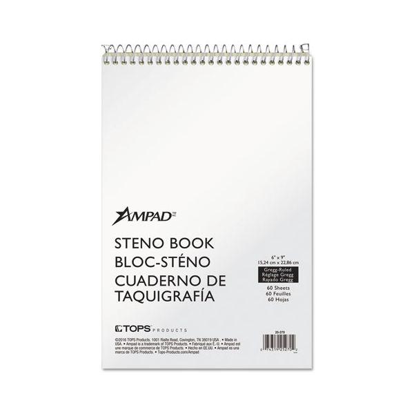 Ampad Spiral Steno Book, Gregg, 6 x 9, 15 lb, Green Tint, 60 Sheets