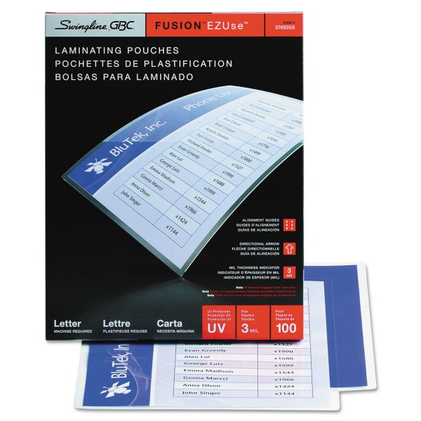 GBC Fusion EZUse Letter Size Laminating Pouches