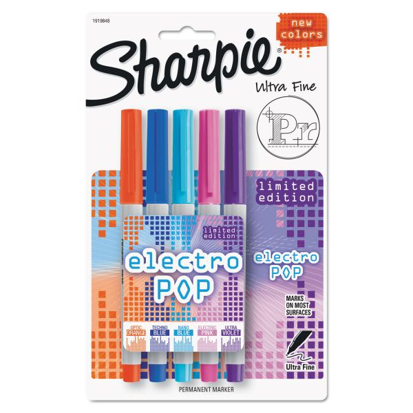 Sharpie Ultra Fine Electro Pop Marker, Assorted Colors, 5/Pack