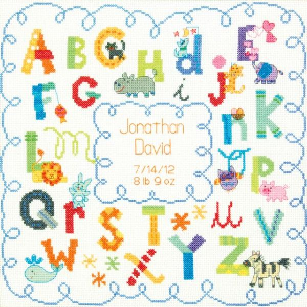 Dimensions Baby Hugs Alphabet Birth Record Counted Cross Stitch Kit