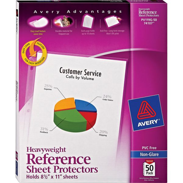 Avery Top-Load Poly Sheet Protectors, Letter, Heavy Gauge, Nonglare, Clear, 50/Box