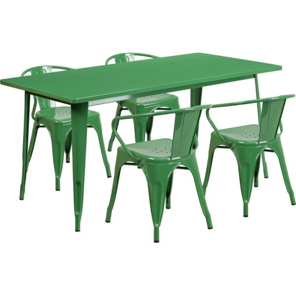 Flash Furniture 31.5'' x 63'' Rectangular Green Metal Indoor-Outdoor Table Set with 4 Arm Chairs