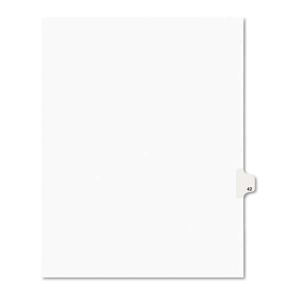 Avery Avery-Style Legal Exhibit Side Tab Divider, Title: 42, Letter, White, 25/Pack