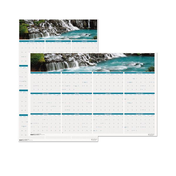 House of Doolittle Recycled Waterfalls of the World Reverse/Erase Yearly Wall Calendar, 24x37, 2019