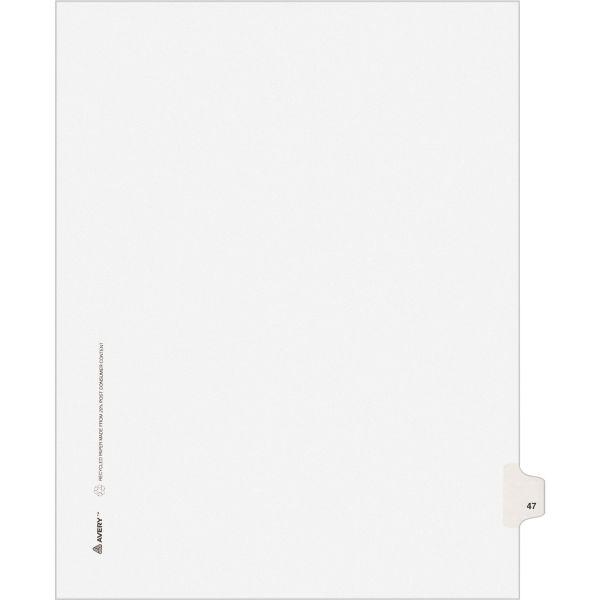 Avery-Style Legal Exhibit Side Tab Divider, Title: 47, Letter, White, 25/Pack