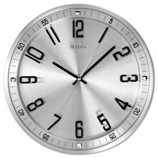 "Bulova Silhouette Wall Clock, 13"" Diameter, Silver"
