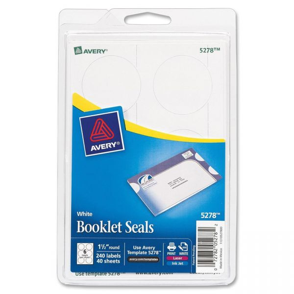 Avery Booklet Seals, 1 1/2 dia, White, 240/Pack