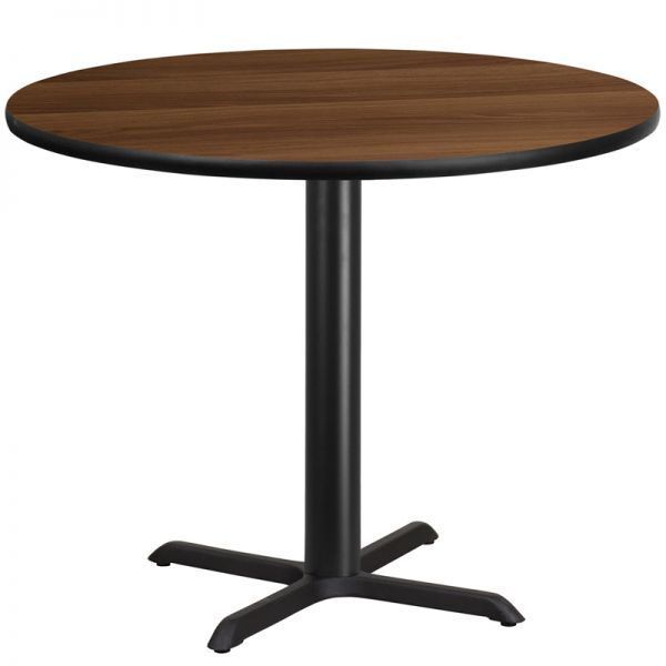 Flash Furniture 42'' Round Walnut Laminate Table Top with 33'' x 33'' Table Height Base