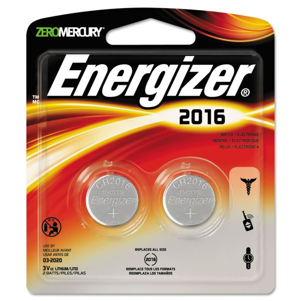 Energizer Watch/Electronic/Specialty Battery, 2016, 3V, 2/Pack