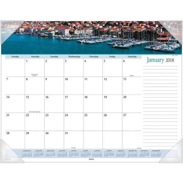 Visual Organizer Panoramic Harbor Views Monthly Desk Pad Calendar