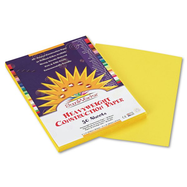 SunWorks Construction Paper, 58 lbs., 9 x 12, Yellow, 50 Sheets/Pack