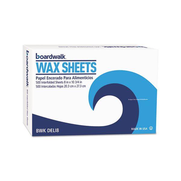 """Boardwalk Interfold-Sheet Deli Paper, 8"""" x 10 3/4"""", White, 500 Sheets/Box, 12 Box/Ctn"""