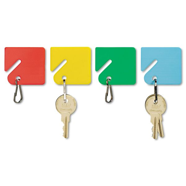 "MMF Industries Slotted Rack Key Tags, Plastic, 1 1/2""h, Blue/Green/Red/Yellow, 20 per Pack"