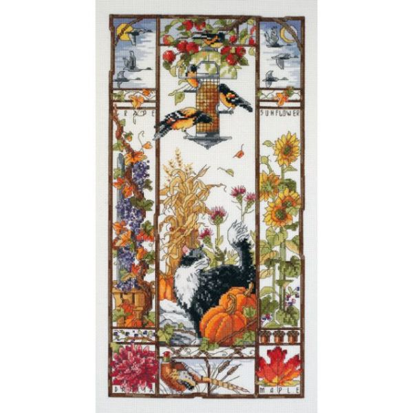 Autumn Cat Sampler Counted Cross Stitch Kit
