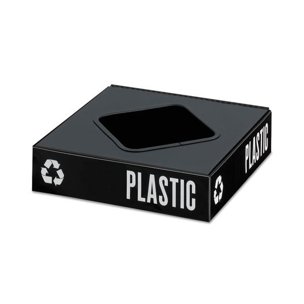 Safco Public Square Recycling Container Lid, Square Opening, 15.25 x 15.25 x 2, Black