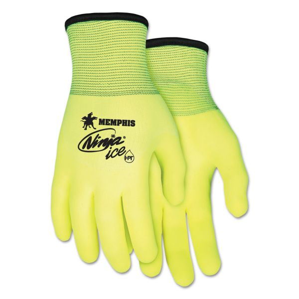 MCR Safety Ninja Ice Gloves, Medium, High Vis Lime, 1 Dozen