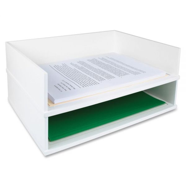 Victor Pure White Collection Wood Stacking Letter Tray