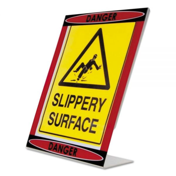 NuDell Themed Danger L-Shaped Sign Holder, Red/Black/Clear, 8 1/2 x 11