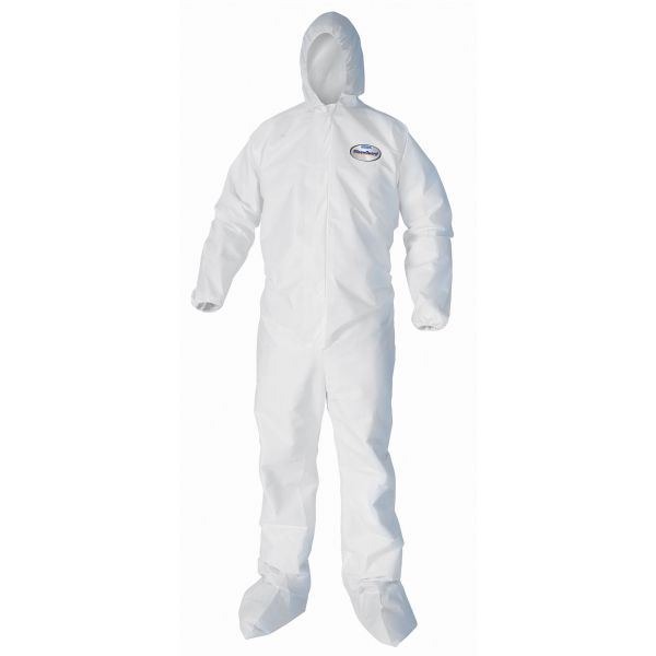 KleenGuard* A40 Elastic-Cuff, Ankle, Hood & Boot Coveralls, White, 2X-Large, 25/Carton