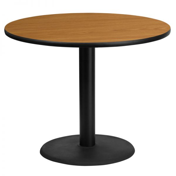 Flash Furniture 36'' Round Natural Laminate Table Top with 24'' Round Table Height Base