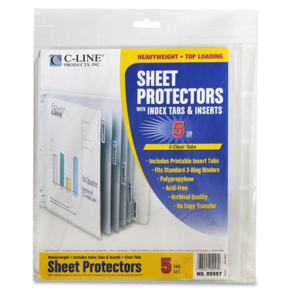 C-Line Top Loading Sheet Protectors With Index Tabs & Inserts