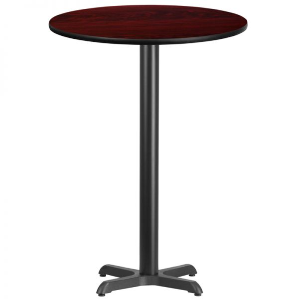 Flash Furniture 30'' Round Mahogany Laminate Table Top with 22'' x 22'' Bar Height Table Base