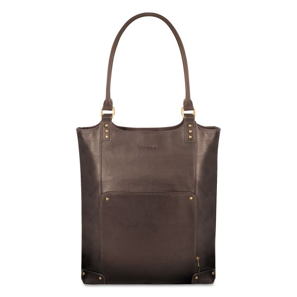 "Solo Executive Leather/Poly Bucket Tote, 16"", 15 1/2"" x 4 3/4"" x 17 1/4"", Espresso"