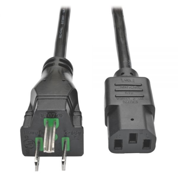 Tripp Lite Hospital Medical Power Cord 10A 18AWG 5-15P IEC-320-C13 6' 6ft