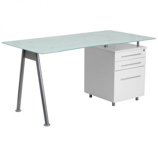 Flash Furniture White Computer Desk with Glass Top and Three Drawer Pedestal