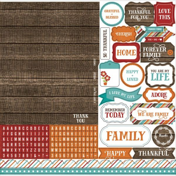 "I Love Family Cardstock Stickers 12""X12"""