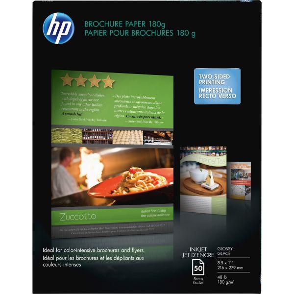 HP Inkjet Brochure/Flyer Paper, 98 Brightness, 48lb, 8-1/2 x 11, White, 50 Shts/Pk