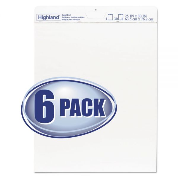 Highland Easel Pad, Unruled, 25 x 30, 30 Sheets/Pad, 6 Pads/Pack