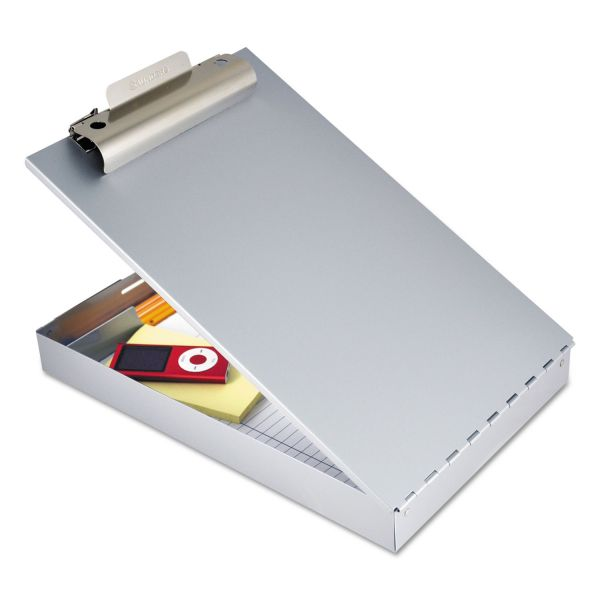 """Saunders Redi-Rite Aluminum Storage Clipboard, 1"""" Clip Cap, 8 1/2 x 12 Sheets, Silver"""