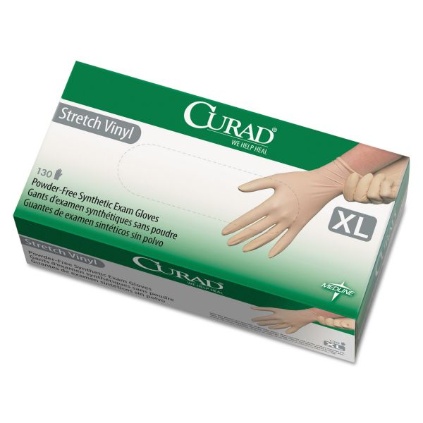 Curad Stretch Vinyl Exam Gloves, Powder-Free, X-Large, 130/Box