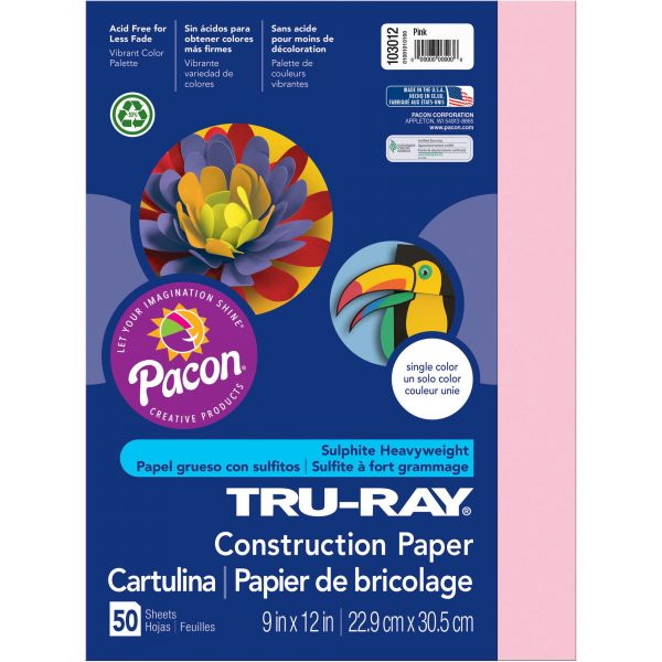 Tru-Ray Pink Construction Paper