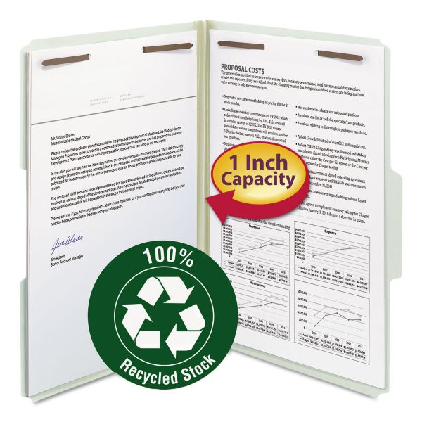 "Smead Recycled Pressboard Fastener Folders, Legal, 1"" Expansion, Gray/Green, 25/Box"