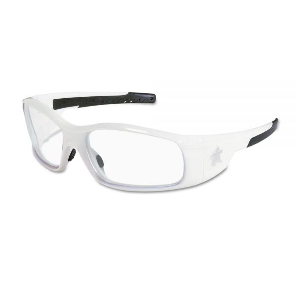 MCR Safety Swagger Safety Glasses, White Frame, Clear Lens