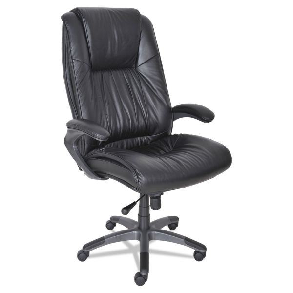 Mayline Leather Seating Series High-Back Swivel/Tilt Chair, Black Leather