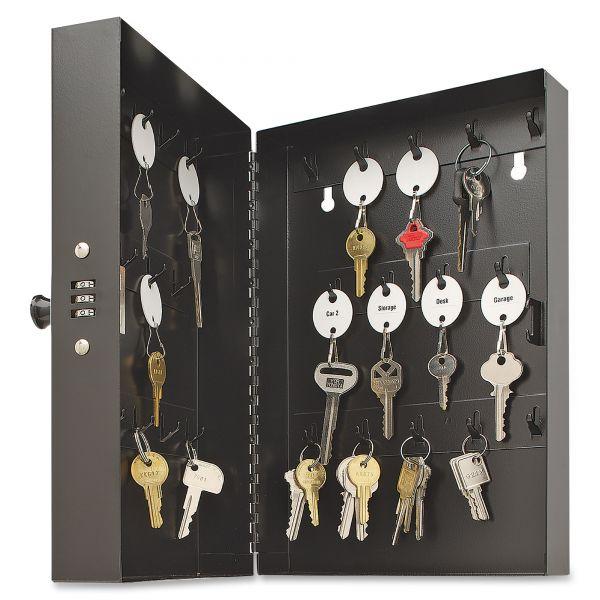 """SteelMaster Hook-Style Key Cabinet, 28-Key, Steel, Black, 7-3/4""""w x  3-1/4""""d x 11-1/2""""h"""
