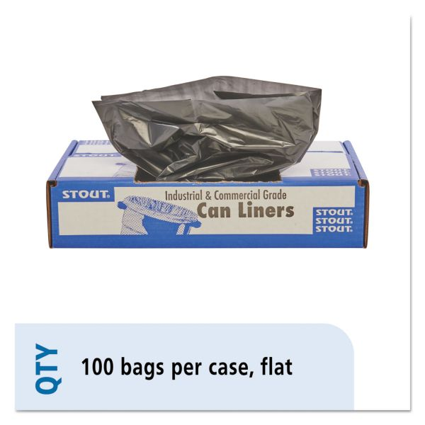 Stout by Envision 100% Recycled Plastic Trash Bags, 20-30gal, 1.3mil, 30 x 39, Brown/Black, 100/CT