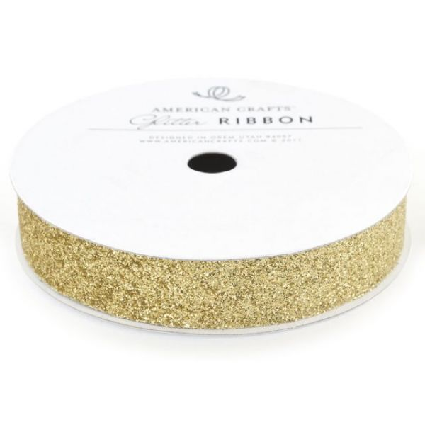 "Solid Glitter Ribbon .625""X3yd"