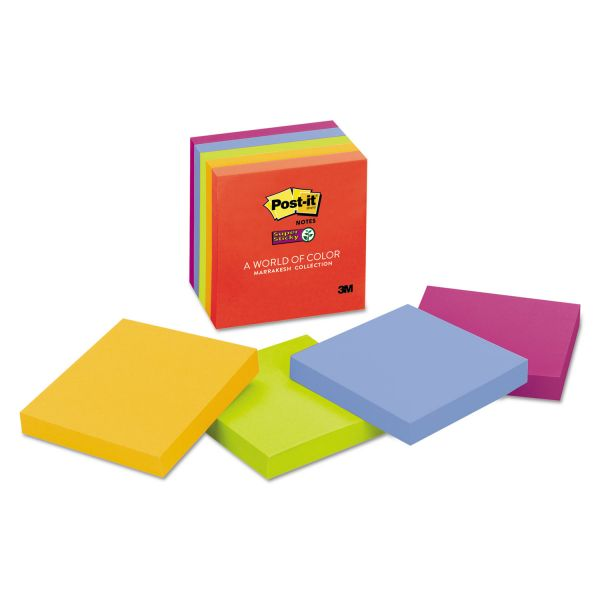 Post-it Notes Super Sticky Pads in Marrakesh Colors, 3 x 3, 90-Sheet, 5/Pack