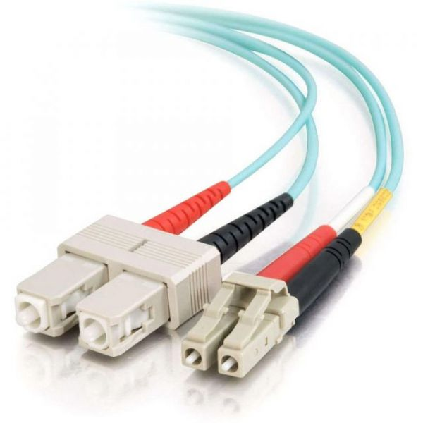 10m LC-SC 10Gb 50/125 OM3 Duplex Multimode PVC Fiber Optic Cable - Aqua